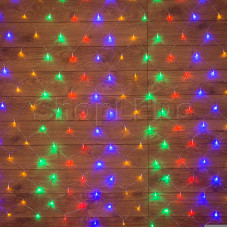 Гирлянда - сеть 1,8х1,5м, прозрачный ПВХ, 180 LED Мультиколор