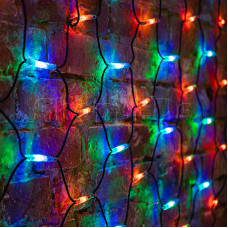 Гирлянда - сеть 2x4м, черный КАУЧУК, 560 LED Мультиколор